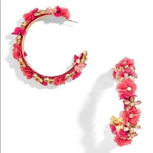 BaubleBar Esme Flower Hoop Earrings - Coral